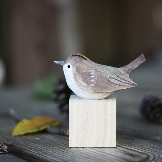 Northern long-tailed tit handmade ornaments silver throated tits wood carving bird crafts